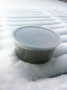 "A suitable ""gelatto"" rest in the snow to cool it down."